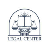 Legal Center Scales of Justice, law open book icon. Juridical legal center emblem. Vector icon with Scales of Justice symbol, open book on roman column pillar Stock Photography