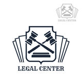 Legal center vector icon of gavel and law code. Advocacy or lawyer legal center vector icon with law code and judge gavels on heraldic shield. Emblem or sign for Royalty Free Stock Photography