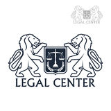Legal center vector icon of heraldic lions, laurel Stock Images