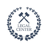 Legal center vector icon of judge gavel and wreath Royalty Free Stock Photography