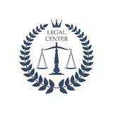 Legal center vector justice scales, laurel icon. Juridical or legal advocacy center icon with Scales of Justice symbol, heraldic laurel wreath and crown. Vector Stock Images
