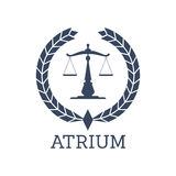 Legal company icon vector justice scales, wreath. Juridical or legal center or company icon. Atrium emblem with Scales of Justice symbol and heraldic laurel Royalty Free Stock Image