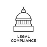 Legal compliance graphic with capitol building. Top royalty free illustration