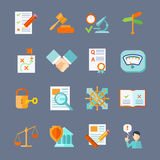 Legal Compliance Icons Set. Legal compliance deal protection and copyright regulation flat icons set isolated vector illustration stock illustration