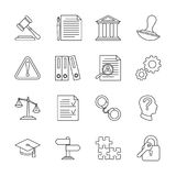 Legal compliance and regulation vector line icons. Law and legal regulation, document and governance illustration Stock Image