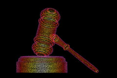 Legal computer judge concept, cyber gavel,3D illustration Stock Photography