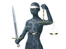 Legal computer judge concept, lady justice isolated on white Stock Photos