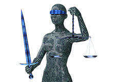 Legal computer judge concept, lady justice isolated on white Stock Photography
