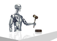 Legal computer judge concept, robot with gavel,3D illustration Royalty Free Stock Photos
