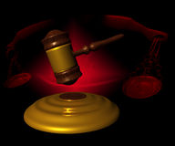 Legal concept. Still life with balance and hammer black background Stock Photos