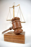 Legal concept. Symbolic law and justice concept with a gavel and balance scale