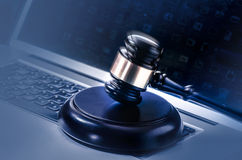 Legal concept gavel computer screen Stock Photo
