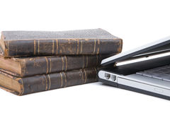 Legal concept with laptop. Legal concept with modern laptop and old books Royalty Free Stock Images