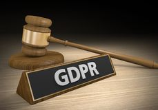Legal concept for laws and lawsuits related to the confusing European GDPR privacy law, 3D rendering stock photo