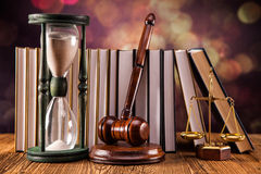 Legal concept. Mallet, legal code and scales of justice. Law concept, studio shots Stock Images