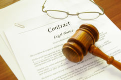 Legal contract. And law gavel Stock Photos