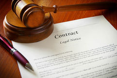 Legal contract. Legal gavel and a business contract Royalty Free Stock Image