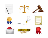 Legal contract concept icon set illustration Royalty Free Stock Photos
