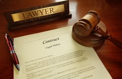 Legal contract with judge gavel Royalty Free Stock Photo