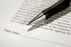 Legal Contract Ready to be Signed with Ink Pen stock photos