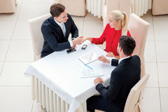 Legal dealings. Three successful and confident businesspeople sh Stock Image