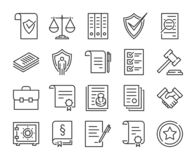 Legal documents icon. Law and justice line icon set. Editable stroke. stock illustration