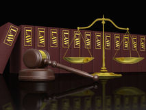Legal education. Gavel, scale and law books, symbols of law and legal education Royalty Free Stock Photography