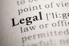 Legal. Fake Dictionary, Dictionary definition of the word Legal Royalty Free Stock Images