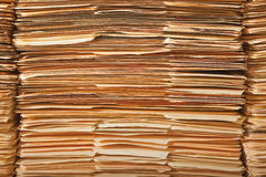 Legal File Pile. Tall stack of paper legal file folders Stock Image