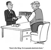 Legal filing. Legal cartoon about a non-digital filing for the clerk of court stock illustration