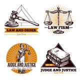 Legal Firm And Office Logo Set. Set of legal  concept of office and  firm logo in vintage style vector illustration Royalty Free Stock Photography