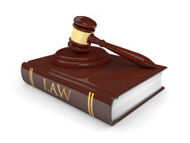 Legal gavel with law book isolated on white Stock Image