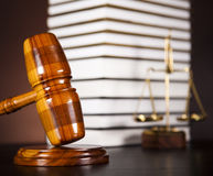 Legal gavel on a law book Stock Image