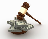 Legal Gavel with One Hundred Dollar Bills Packs Royalty Free Stock Photography