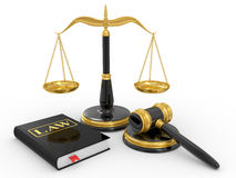 Legal gavel, scales and law book Royalty Free Stock Photography