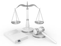 Legal gavel, scales and law book Stock Image
