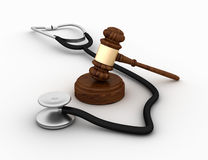 Legal Gavel with Stethoscope. Three dimensional illustration of Legal Gavel with Stethoscope Royalty Free Stock Photo