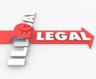 Legal gegen illegales Gesetzesroten Pfeil über dem Wort schuldig oder unschuldig Stockbild