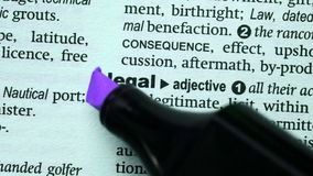 Legal highlighted in purple stock footage