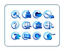 Legal Icon Set - Blue Royalty Free Stock Photo