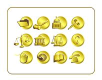 Legal Icon Set with clipping paths Stock Images