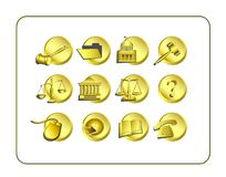 Legal Icon Set - Golden Stock Images