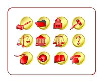 Legal Icon Set - Golden-Red Royalty Free Stock Photos