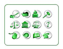 Legal Icon Set - Green-Silver Stock Photos