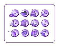 Legal Icon Set - Purple Royalty Free Stock Photos