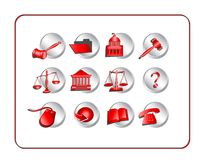 Legal Icon Set - Red Stock Photos