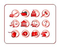Legal Icon Set - Red Stock Photo