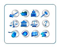 Legal Icon Set - Silver-Blue Stock Images