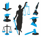 Legal icons. Black and blue icons for lawyers Royalty Free Stock Photos
