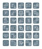 Legal icons, linear, gray, monochrome. Royalty Free Stock Photo